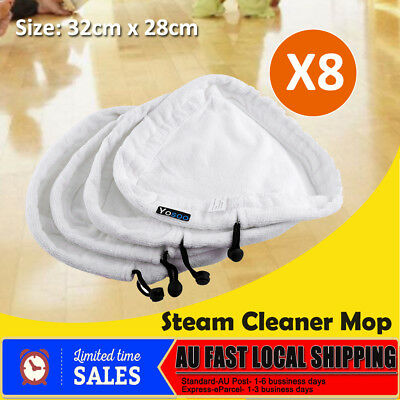 8Pcs Steam Cleaner Mop Pads Replacement Micro Fibre Washable H2O Cleaning Home