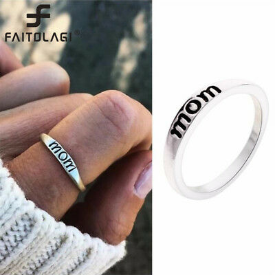 Vintage Silver Ring Heart Crown Selfless Mom Rings for Women Silver Fashion Ring