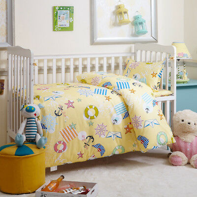 Yellow Nautical New Baby Bedding Crib Cot Set Quilt Cover Padded Cotton Nursery