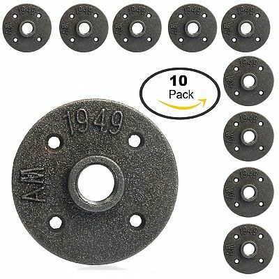 10PACK 1/2'' Black Malleable Threaded Floor Flange Iron Pipe Fittings Wall Mount
