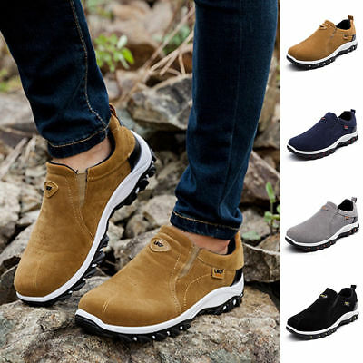 Men Suede Slip On Sports Outdoor Sneakers Running Walking Hiking Shoes Trainers