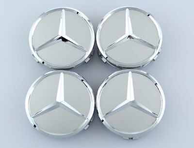 MERCEDES-BENZ (SET OF 4) STAR 75mm SILVER CENTER WHEEL HUB CAPS EMBLEM BADGE