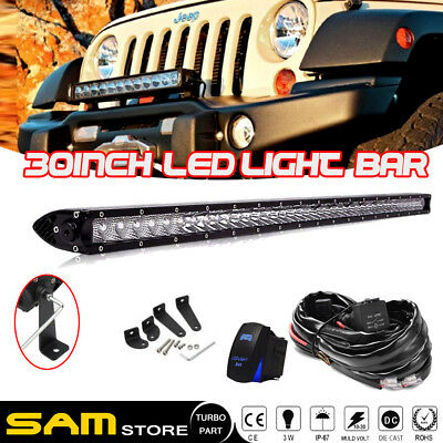 "30 "" Inch 150W Slim Single Row Lamp LED Light Bar For Jeep Wrangler JK TJ"