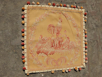 Antique French Beautiful 19thC Hand Woven Aubusson Cushion 57X57cm (A1256)