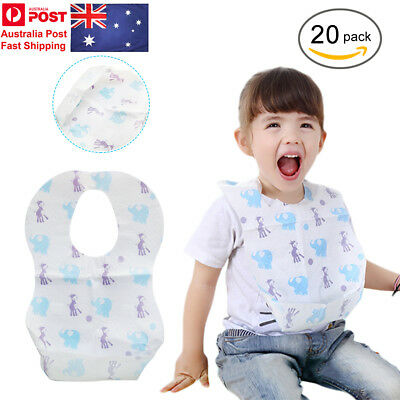 Disposable Bibs Children Baby Waterproof Sterile Eat Bibs With Pocket 20pcs/Set