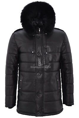 Mens Puffer Hooded Leather Jacket Black Hip Length Quilted Classic Fur Hood 2029
