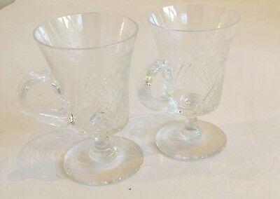 Pall Mall Glasses Lady Hamilton Two Custard Cups Edwardian Etched Crystal
