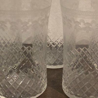 Pall Mall Glasses Lady Hamilton Edwardian Etched Crystal Five Tumblers