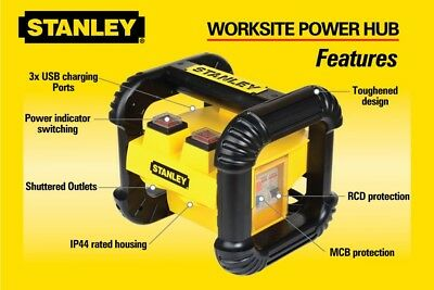 STANLEY-WORKSITE-POWER-HUB POWER BOARD With 3xUSB-10AMP-Model-PP5638