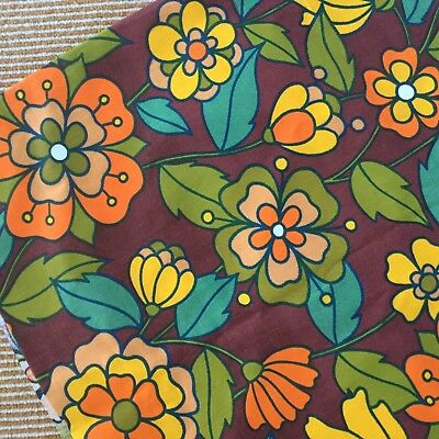 """Vintage Fabric Old Bleach """"Irene"""" Floral Bright Cotton Upholstery"""