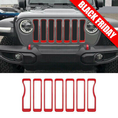 Red Front Grill Grille Inserts Covers Trim Fits 2018 Jeep wrangler JL Accessorie