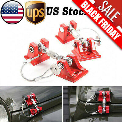 For 07-2018 Jeep Wrangler JK Unlimited Black Hood Latch Locking Catch Buckle Red