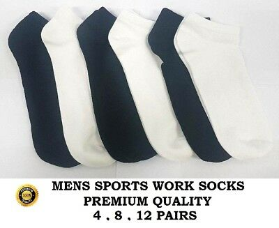 1 2 3 4 Pairs Mens Womens Trainer Liner Ankle Cotton Rich Sports Gym Plain Socks