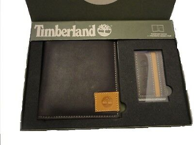 Timberland Passport Holder And Magnetic Money Clip Brown Genuine Leather