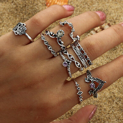 Bohemian 10pcs/set Vintage Hollow Twisty Drop Purple Crystal Joint Knuckle Rings