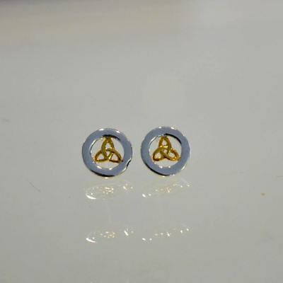 Beautiful Round Sterling Silver Earrings with Gold PLated Trinity Knot Centre