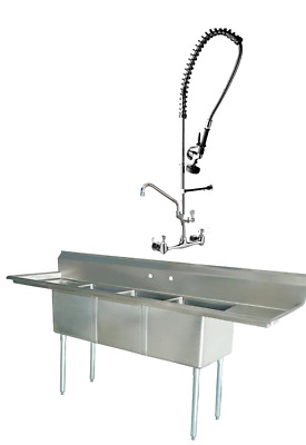 Three Compartment Sink Faucet.New 102 Stainless Steel Sink 3 Compartment Commercial