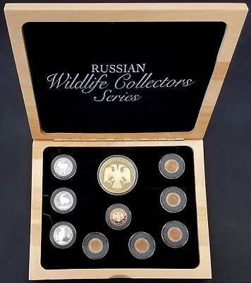 Russian Wildlife Collector's Series 10 pc coin set! 1 Gold Coin, 3 Silver Coins!