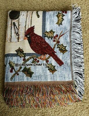 Red Cardinal Bird Tapestry Throw Blanket Christmas Winter 4ft x 5ft