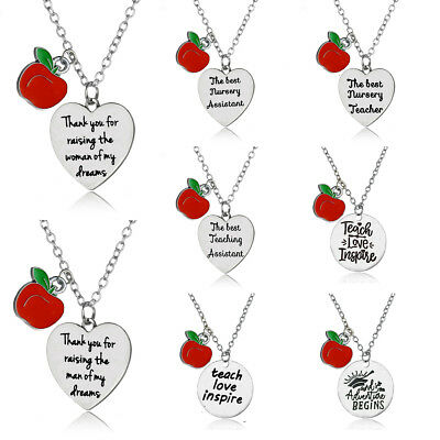 Apple Love Heart Pendant Teaching Assistant Nursery Teacher Necklace Jewelry New