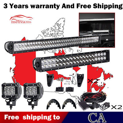 "42Inch LED Light Bar Combo + 22in +4"" CREE PODS For SUV 4WD ATV FORD JEEP 40"