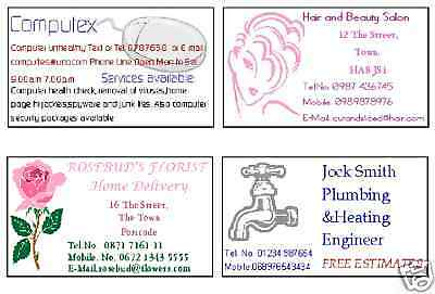 Business Cards 50 Double Sided Cards Personalised