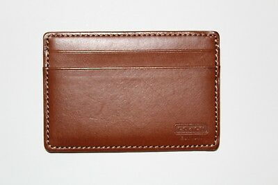 the best attitude 5a779 ac101 COACH LEGACY BLEECKER Leather Id Card Case in Brown / Red - $16.00 ...