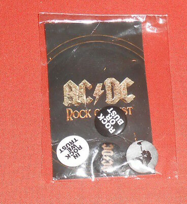 AC/DC Rock or Bust 4 Buttons Pack Pin Lot Original Promo Sealed 1""