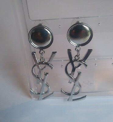 NEW NWOT Yves Saint Laurent YSL Silver Dangle Earrings!  Please Read!!