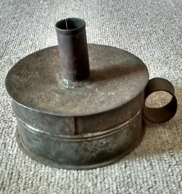 Antique tinderbox candlestick and contents tin tinware tole
