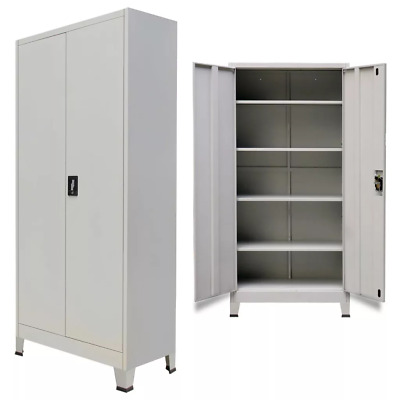 Metal Steel Office Filing Cabinet Large Tool Storage Cupboard 2 Doors 4 Shelves