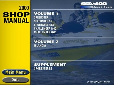 Seadoo 2000 Speedster SK Sportster LE Challenger 1800 Islandia Shop Manual 99 CD