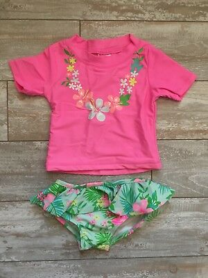 8969632dc Carter's Baby Infant Girl Swim Suit Rash Guard Pink Lei Tropical 12 Months  EUC!