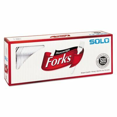 SOLO Cup Company Heavyweight Plastic Cutlery, Forks, White, 6.41 - SCC827263