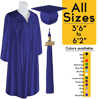 NEW SHINY Graduation Cap & Gown with Matching 2018 Tassel