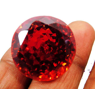 Natural 90.50 Cts. Round Cut Cambodia Red Zircon Loose Gemstone. 458