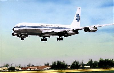 Pan American Airways Boeing 707 airplane at Miami Intl Airport Florida~1970s