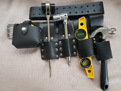 Scaffolding BLACK Leather TooL Belt 2 Frogs Level Hammer Tape Holder Tools Set