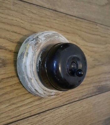 Vintage Bakelite Light Switch Antique Art Deco Old Original Mount