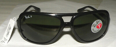 c36a4dcc88 Ray-Ban RB4162 Aviator Sunglasses with Black Frame and Green Polarized  Lenses