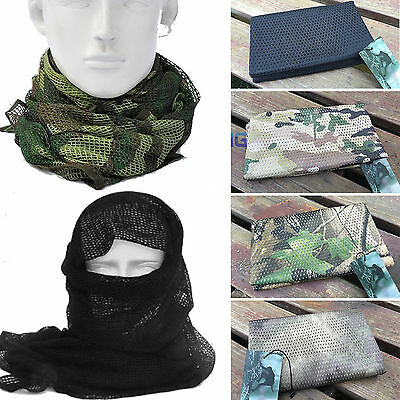 Tactical Military Army Camo Mesh Neck Scarf Scrim Net Sniper Face Veil Windproof
