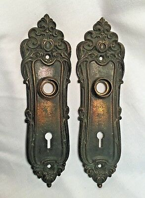 Antique Hardware, Door Plate, 1885, Cast Iron, Ornate, Eastlake Style, Victorian