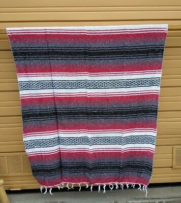 "MEXICAN FALSA BLANKET , RED  , THROW STADIUM BLANKET , YOGA 72"" x 52"" , NEW"