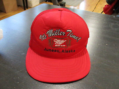 e446bb03db1 VINTAGE Miller High Life Snap Back Trucker Hat Cap Red Juneau Alaska Beer  90s