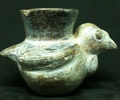 Antique Pre Columbian Figural Condor Bird Clay Pottery Bowl Jar Peru Vessel Jug