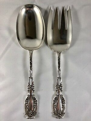 Antique Frank Whiting Dolphin Cattails Serving Meat Fork Serving Large Spoon 9""