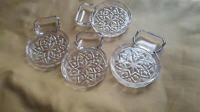 Vintage Four Glass Coasters with Attached Ashtray