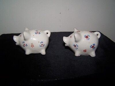 "Vintage White Pigs With Painted Flowers/Original Corks ""Stamped Red Japan"""