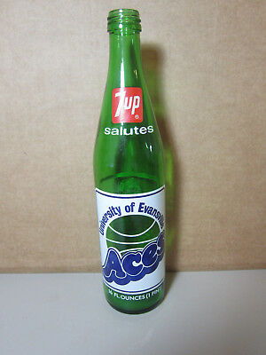 1974 Vintage University of Evansville Aces Basketball 7UP Bottle Soda Pop