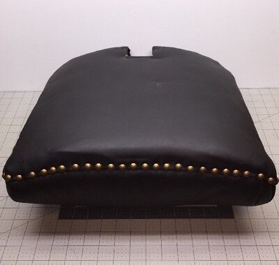 "Koken Barber Shop Chair Oak Frame Backrest in Black Leather 17""H, 16""W, 6""D"